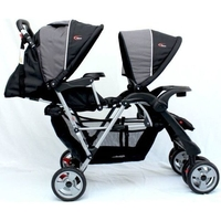 Mamakiddies Double Baby Pram Stroller in Grey Black
