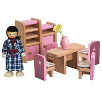 50 pcs Doll House Wooden Furniture Set w/ 4 Dolls