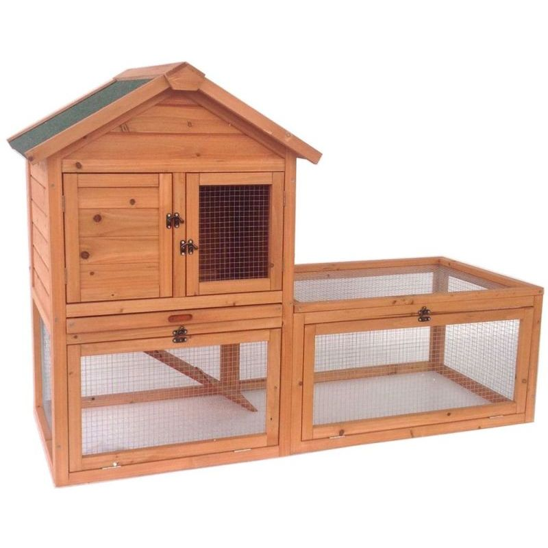 Luxury Wooden Double Rabbit Hutch Pet House W Run Buy