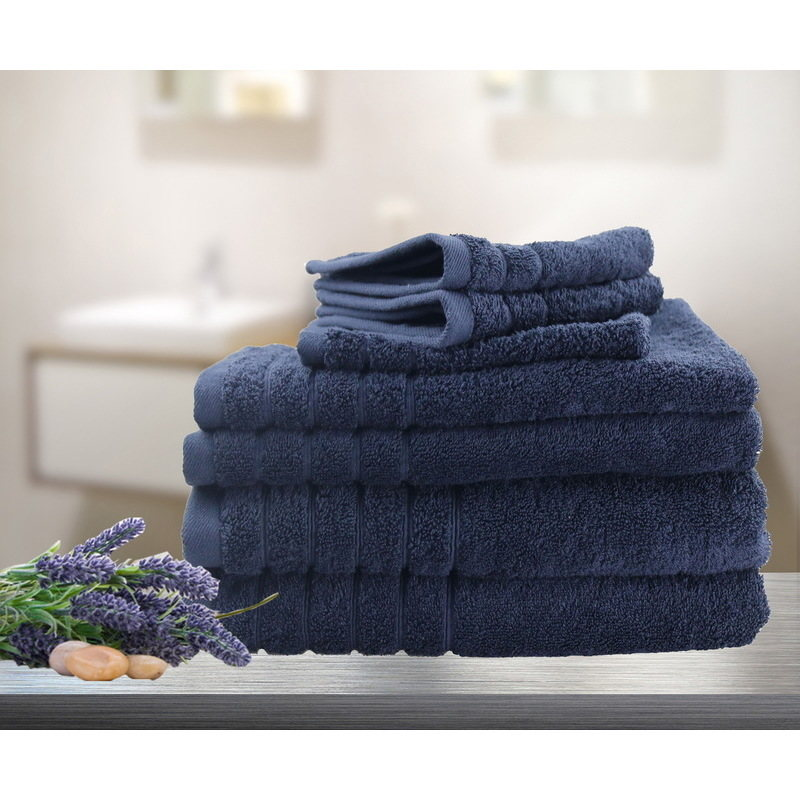 7pc Soft Egyptian Cotton Bath Towel Set In Navy Buy 7