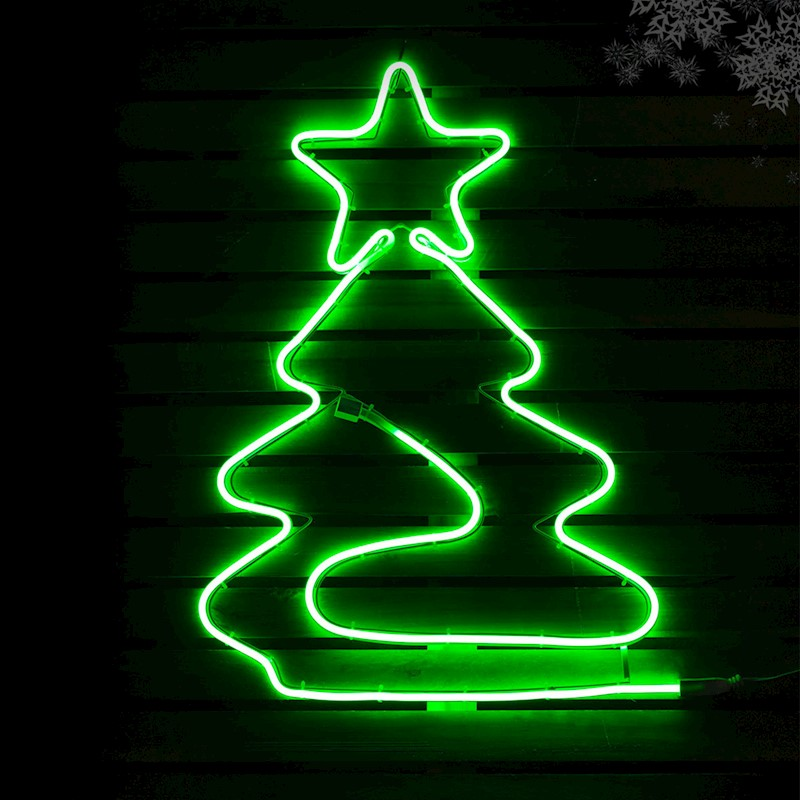 Christmas Lights Led Tree Silhouette Green Neon Flexi Strip Outdoor Motif Xmas