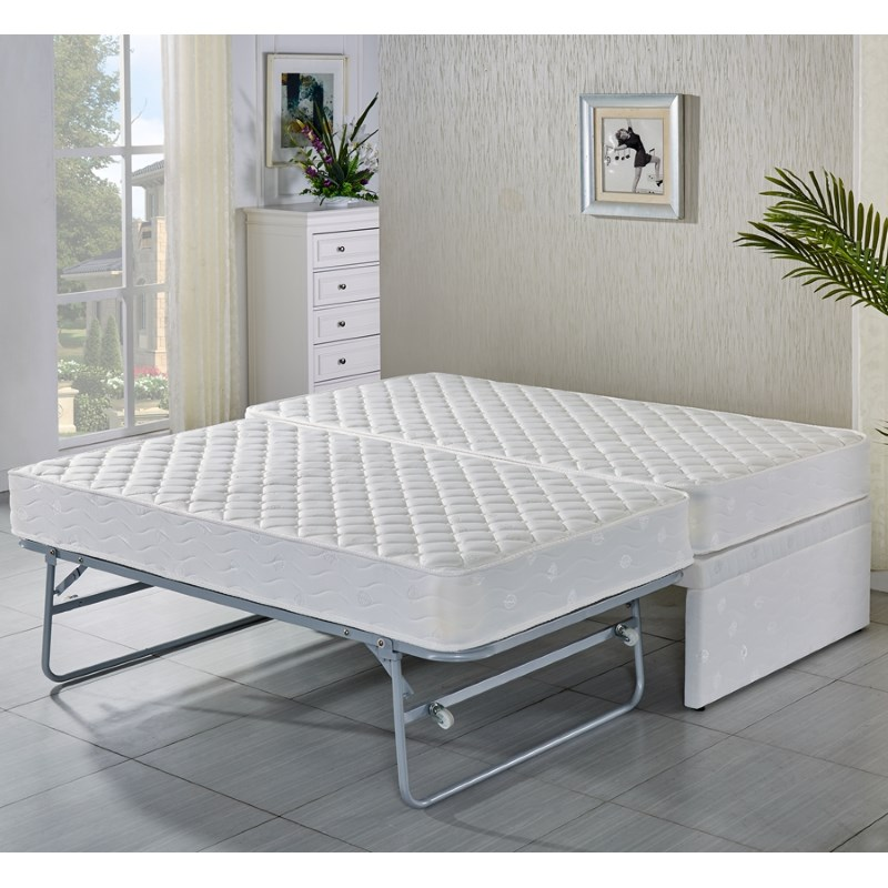 Single Fabric Bed Base W Trundle Amp 2 Mattresses Buy