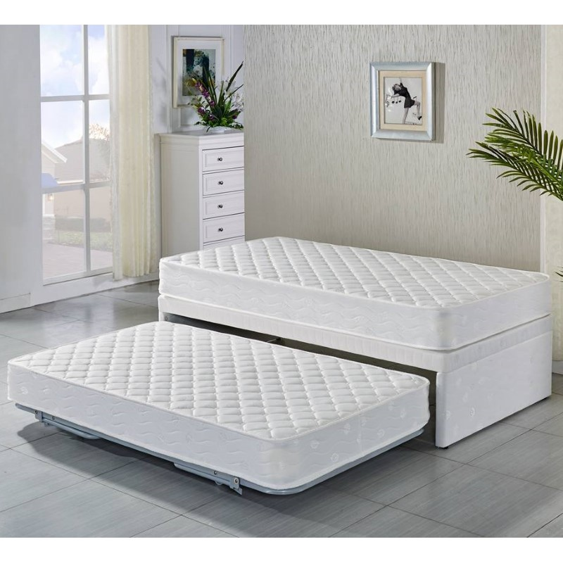 single bed with trundle single fabric bed base w trundle amp 2 mattresses buy 17073