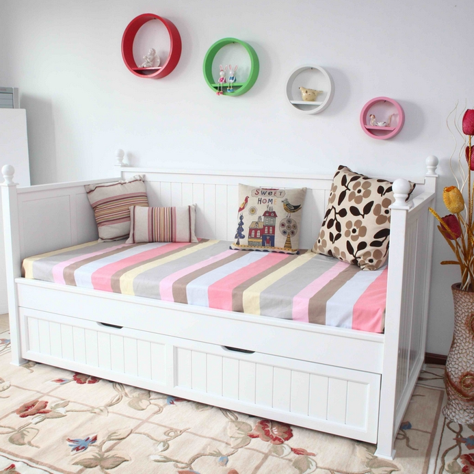 Single Size Day Bed In White With Full Trundle Bed Buy
