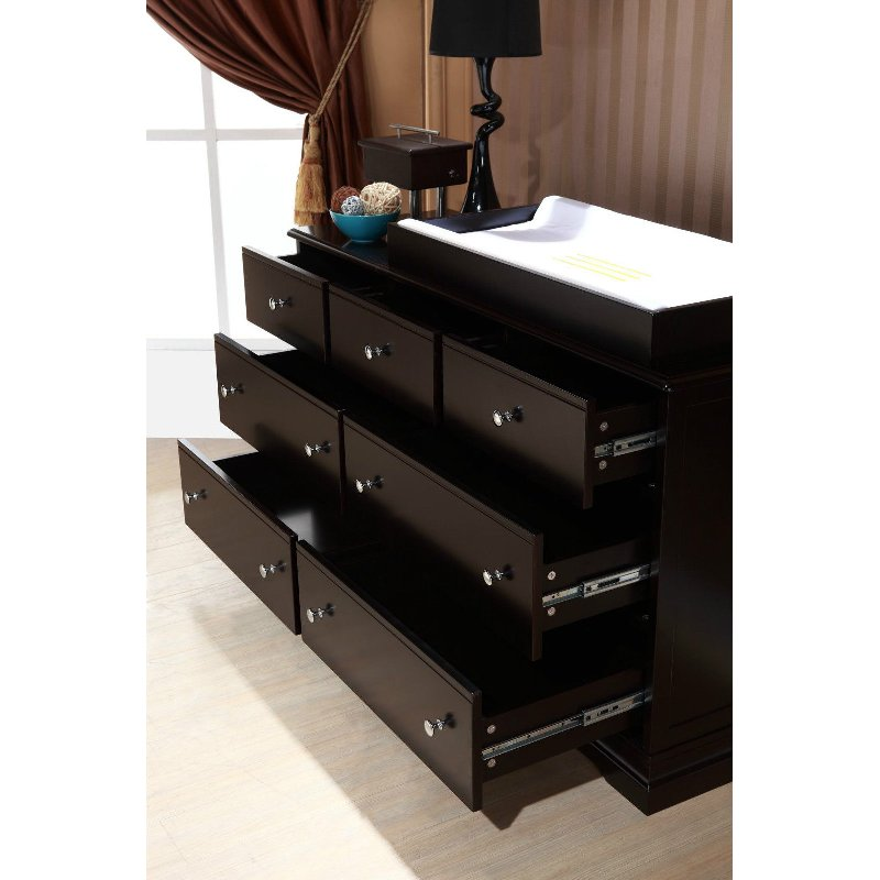 dark brown 7 drawer chest baby change table top buy changing tables 176278. Black Bedroom Furniture Sets. Home Design Ideas