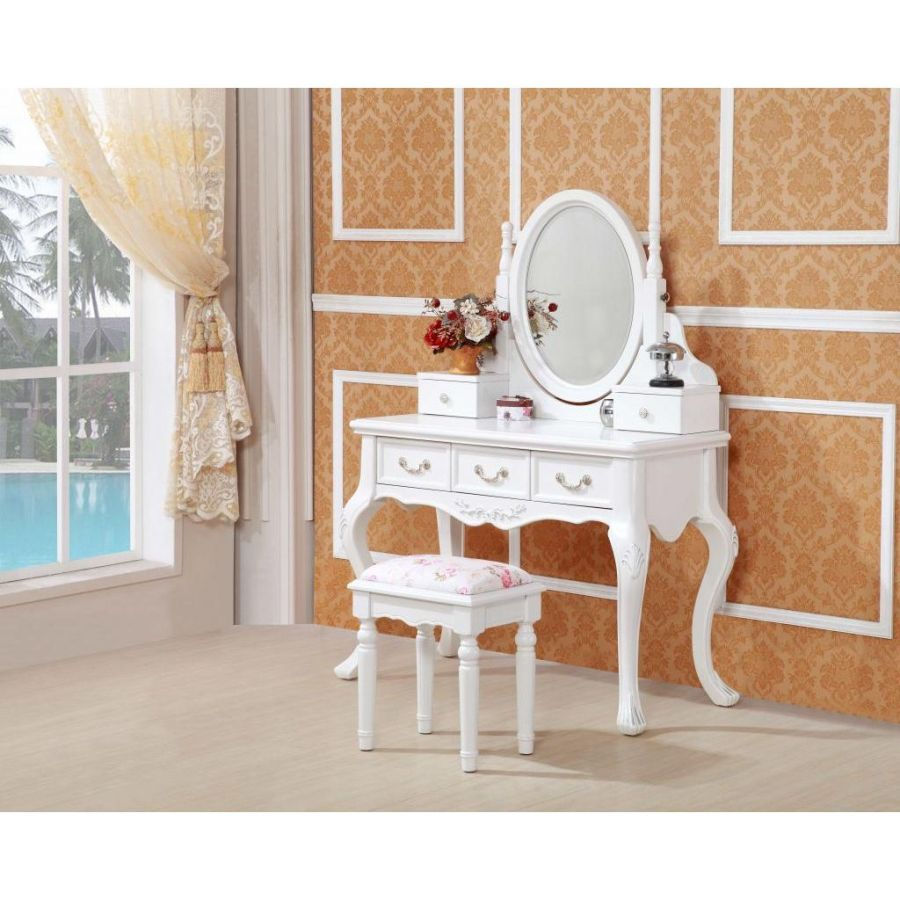 Queen Anne French Dressing Table w Mirror in White
