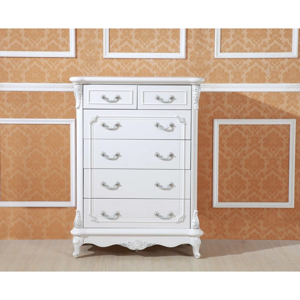 White Antique Tallboy Dresser Chest Of 6 Drawers Buy