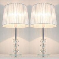 2x Glass & Ribbon Shade Bedside Lamps Silver 45cm