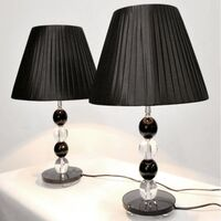 2x Modern Designer Bedside Lamps w/ Two Tone Base