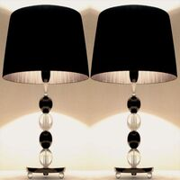 2x Modern Two Tone Bedside Table Lamps in Black