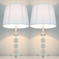 2x Modern Designer Table Lamps - White Shades