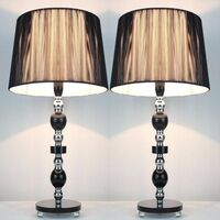 2x Designer Table Lamps w/ Black Shades 45cm