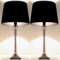 2x Designer Acrylic Table Lamps w/ Black Shades