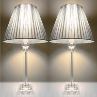 2x Acrylic & Ribbon Bedside Table Lamps in Silver