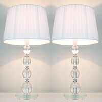 2x Bead Acrylic Bedside Table Lamps w/ White Shades
