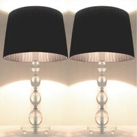 2x Bulb Stand Bedside Table Lamps with Black Shades