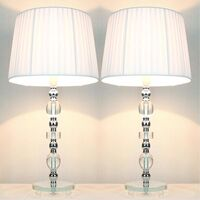 2 Vintage Bedside Table Glass Base Lamps w Shades