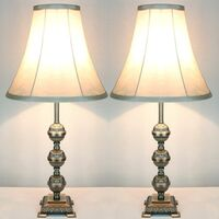 2x Vintage Bedside Table Lamps w/ Bead Style Base