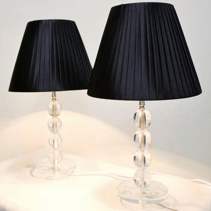 2x modern bedside table lamps black shades buy table lamps for Bedside table lamp shades