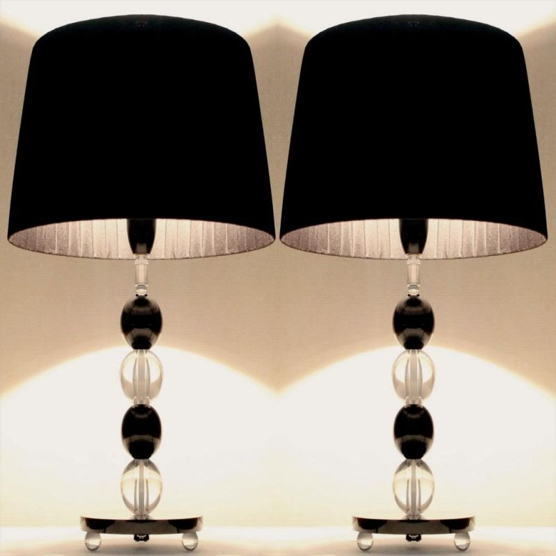2x modern two tone bedside table lamps in black buy for Modern bedside table lamps