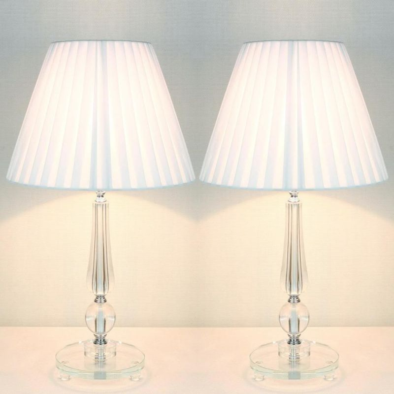 2x Designer Bedside Table Lamps - White Shades | Buy Table ...
