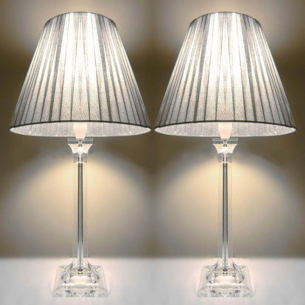 2x Acrylic Amp Ribbon Bedside Table Lamps In Silver Buy