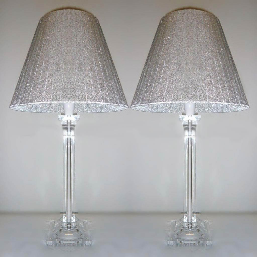 2x Acrylic Amp Ribbon Bedside Table Lamps In Silver
