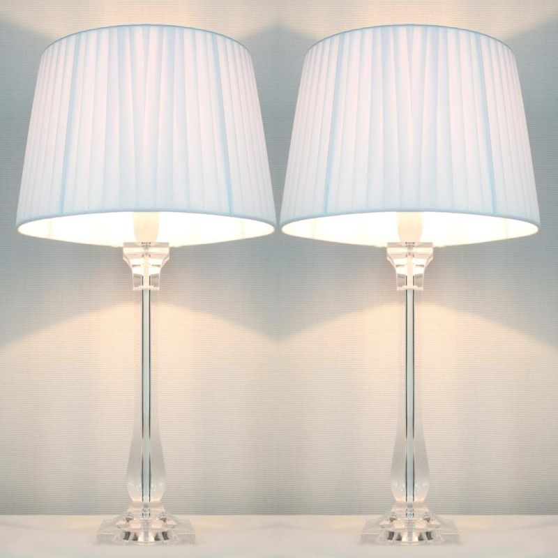 2x Classic Modern Bedside Lamps White Shades Buy Table