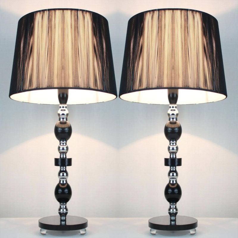 2x Designer Table Lamps w/ Black Shades 45cm Buy Table Lamps