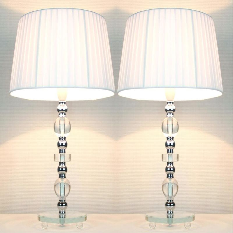 2 vintage bedside table glass base lamps w shades buy for Bedside table lamp shades