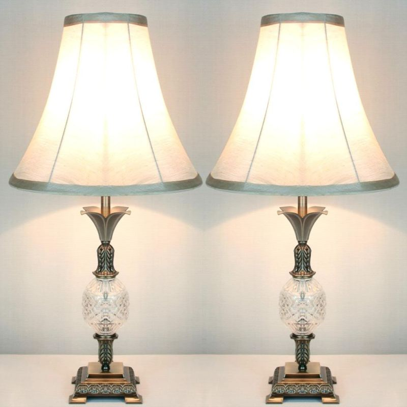 2x Vintage Bedside Table Lamps W Glass Metal Base Buy