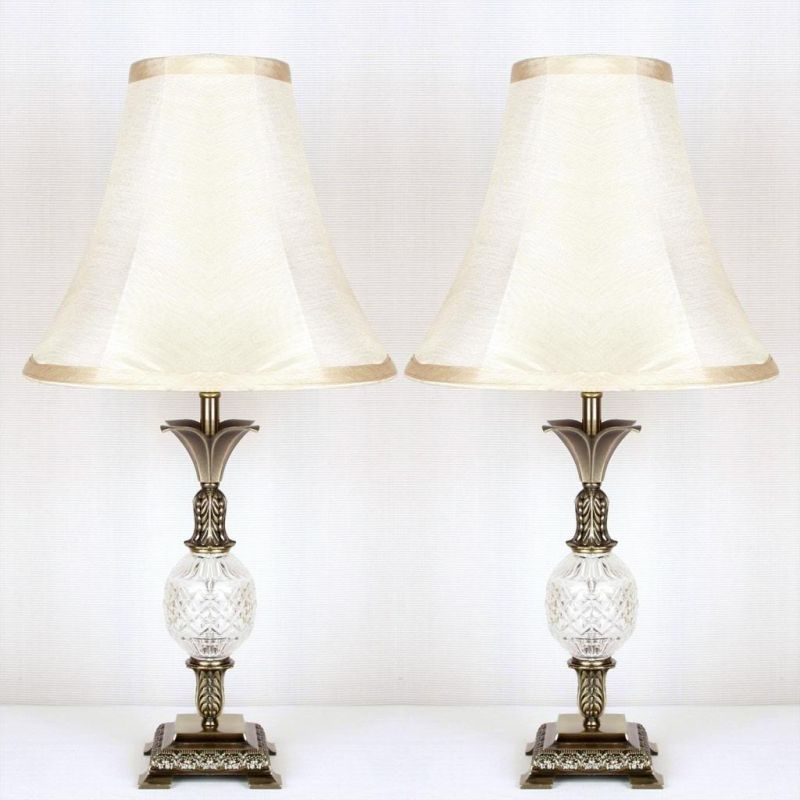 2x Vintage Bedside Table Lamps W Glass Metal Base