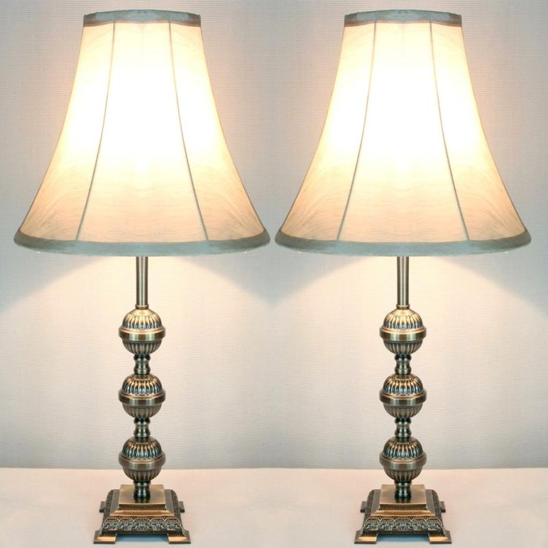 2x Vintage Bedside Table Lamps W Bead Style Base Buy