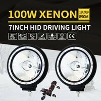 2x HID Road Spotlight Driving Light Chrome 7in 100w