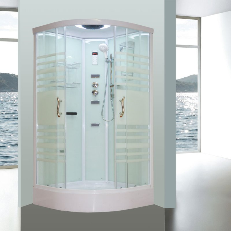 Aeros 15000 Corner Luxury Shower Enclosure in Aqua | Buy Shower Cubicles