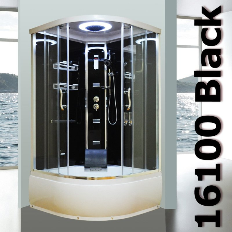 Aeros 16100 Shower Bath Cubicle Enclosure in Black | Buy Shower Cubicles