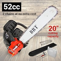 BBT Industries Chainsaw w/ 2 Chains 20 Inch 52cc