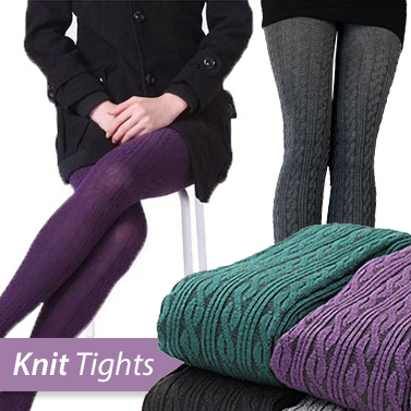 Knit Tights Pattern : Winter Knit Tights with Ribbed Pattern Design Buy SALE