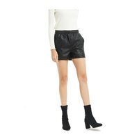 Loose-fit High-waisted Black Faux Leather Shorts