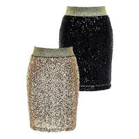 Sequin Metallic Bodycon Mini Skirt