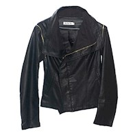 Panel Draped Faux Leather Jacket or Vest in Black