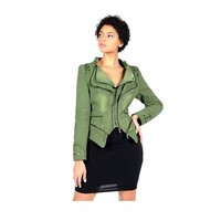 Fitted Cropped Stretch Denim Jacket Vintage Green