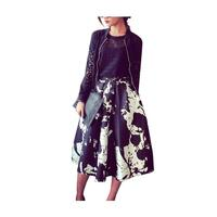 Abstract Paint Splatter Midi Skirt in Monochrome