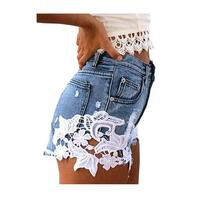 High Waisted Denim Shorts with White Floral Crochet
