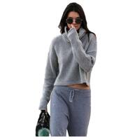 Turtle Neck Crop Chunky Knit Jumper in Light Grey