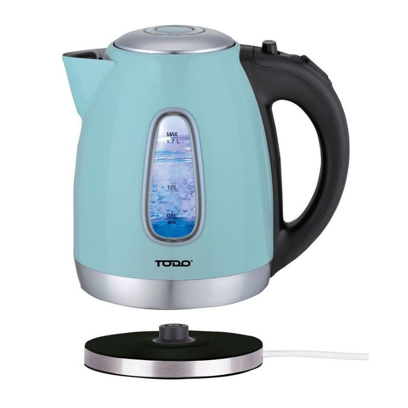 todo stainless steel cordless kettle in blue 1 7l buy. Black Bedroom Furniture Sets. Home Design Ideas