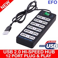 USB 2.0 Hi Speed 12 Port Hub Plug & Play