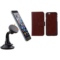 iPhone 6 Brown Magnetic Case w/ Suction Car Holder