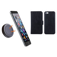 iPhone 6 Black Magnetic Wallet Case w/ Phone Holder
