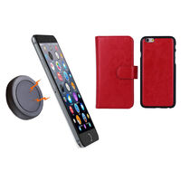 iPhone 6+ Red Magnetic Wallet Case w/ Phone Holder